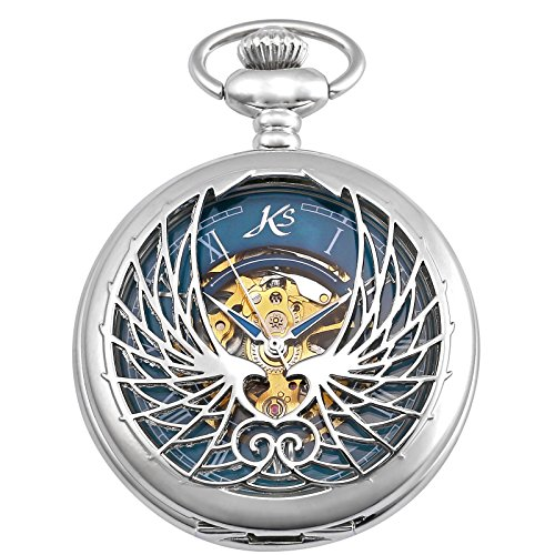KS Skeleton Eagle Wings Design Case Roman Numeral Markers Mechanical Pocket Watch (Silver Roman Markers)