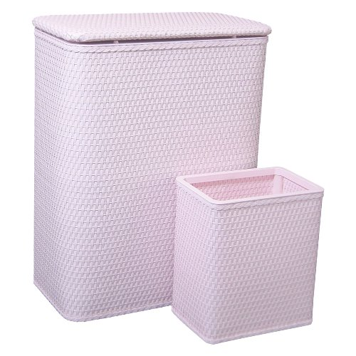 Redmon Chelsea Collection Hamper with Matching Square Wastebasket, Crystal Pink