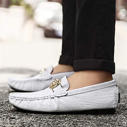 de Zapatos suave ocasionales Zapatos planos 24 28 Diseño único Zapatos genuinos conducción Blanco de de Moccasin 0cm cuero gommino Zapatos M hombres negocios y de liviano los Tamaño de Blanco 5cm Negro Zd8XR