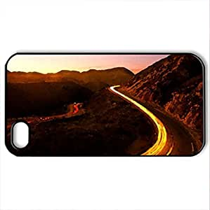 LIGHTED SERPENT ROAD - Case Cover for iPhone 4 and 4s (Watercolor style, Black)