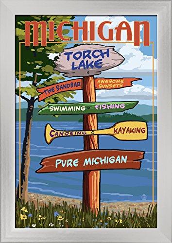 Torch Lake, Michigan - Pure Michigan - Sign Destinations Giclee Art Print, Gallery Framed,