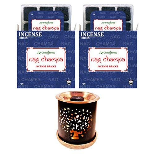 - Aromafume Nag Champa Incense Bricks + Exotic Incense Burner | Pack of 18 (9x2) | Home/Room Fragrance | Gifts (Nag Champa Set)