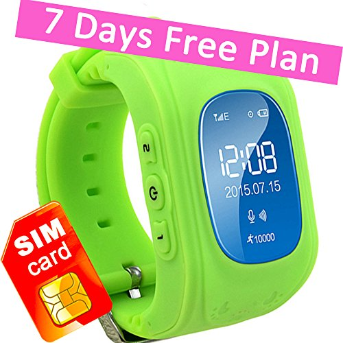 Kids GPS Tracker Smart Watch Phone Children Wrist Bracelet with SIM Card SOS Anti-lost Finder Parent Control on Universal Smartphone 7Days Plan Included(Green)