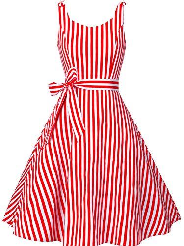 (FAIRY COUPLE Women's 1950's Bowknot Vintage Retro Polka Dot Rockabilly Party Swing Dress S Red Stripe)