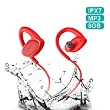 Bluetooth Headphones Waterproof IPX7, Wireless Earbuds Sport, Richer Bass HiFi Stereo in-Ear Earphones w/Mic, OVEVO,Case, 8 Hrs Playback Noise Cancelling Headsets (Comfy & Fast Pairing),8GB MP3.