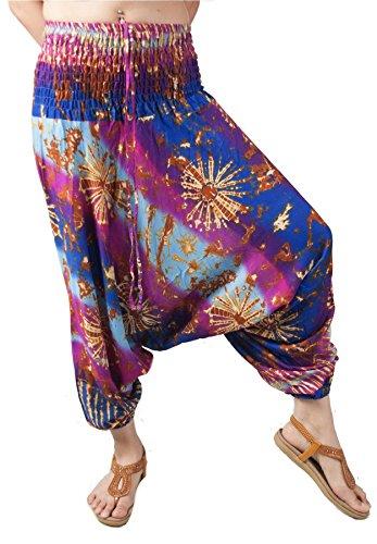 Lofbaz Women's Smocked Waist Tie Dye 2 In 1 Harem Pants Jumpsuit Blue & Purple (Smocked Tie Dye)