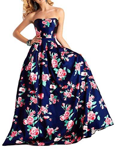 long strapless blue multi dress - 3