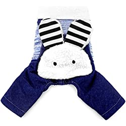 SMALLLEE_LUCKY_STORE Bunny on Back Cotton-padded Dog Coat Four Legged Jumpsuits Cashmere, Blue, Medium