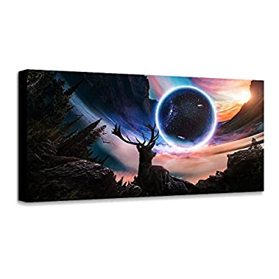 Wall Art Moon Sea Blue Ocean Landscape Paintings Bedroom Canvas Art Print Wall Art for Living Room Paintings for Wall Decor and Home Decor (20 x 40inch x 1pcs) ¡