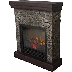 "Home Polyfiber Electric Fireplace, 26"", Realistic flame, 1250W heater, Tan by MegaDeal"