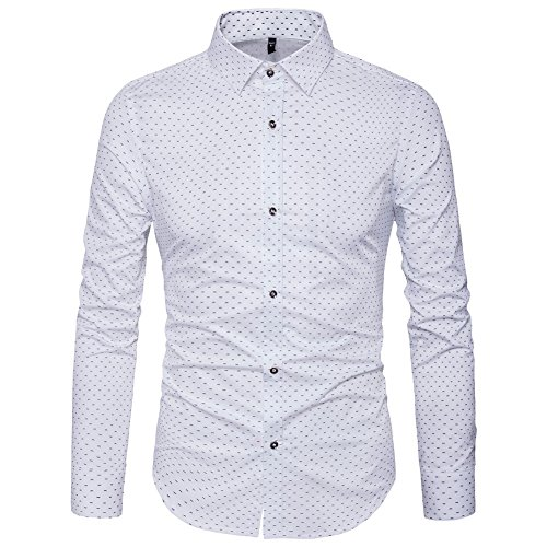 MUSE FATH Men's Printed Dress Shirt-100% Cotton Casual Long Sleeve Shirt- Button Down Wedding Dress Shirt-White-XL