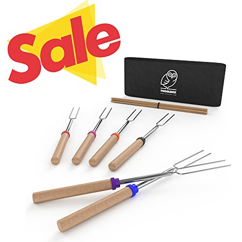 Smores Box - TooglBox - 4 Piece 32 Inch Marshmallow Roasting Stick - Telescoping Stainless Steel Cookware Set-Forks for Smores & Hot Dogs - BONUS 20 Bamboo skewers & Bag (4)