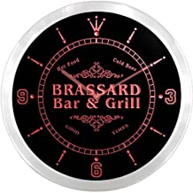 ncu05189-r BRASSARD Family Name Bar & Grill Cold Beer Neon Sign LED Wall Clock