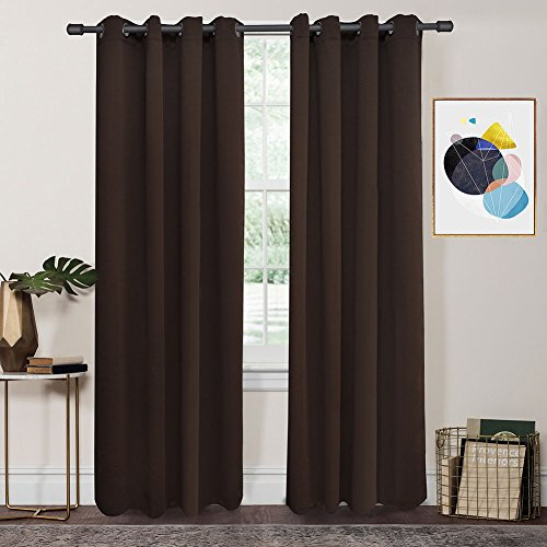 FY-LIVING Thermal Insulated Grommet Top Microfiber Blackout Curtain for Livingroom,Two Panels,52 by 95-Inch,Chocolate
