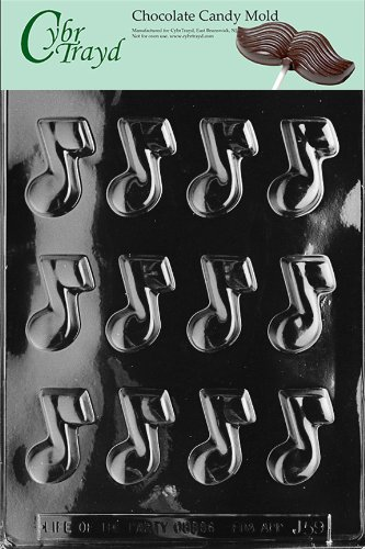 Cybrtrayd Life of the Party J059 Musical Note Chocolate Candy Mold in Sealed Protective Poly Bag Imprinted with Copyrighted Cybrtrayd Molding Instructions