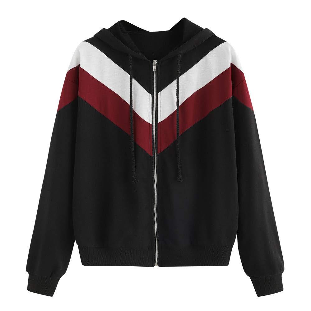 ABsolute Camiseta Abrigo Patchwork Thin Skinsuits Mujeres,Deportivo Casual con Cremallera y Manga Larga con Capucha