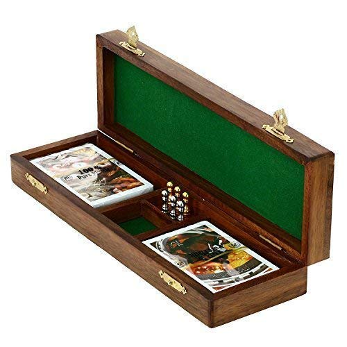 KITCHEN SUPPLIER Game Cribbage Boards Set, 2 Decks of Cards, 6 Metal Pegs with Storage- Premium Mango Wood