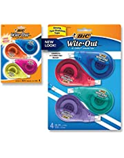 BIC Wite-Out Brand EZ Correct Correction Tape, White, Fast, Clean & Easy To Use, Tear-Resistant Tape, 4-Count, Dispenser colors may vary