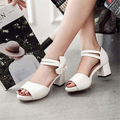 LvYuan Mujer-Tacón Robusto-Zapatos del club Confort Innovador-Sandalias-Exterior Informal Vestido-Semicuero-Negro Rosa Blanco Beige beige