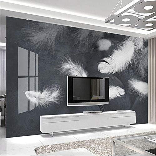 壁飾り画 3D壁画壁紙モダンなシンプルな白い羽の壁画リビングルームテレビソファベッドルーム家の装飾壁画-450X300Cm