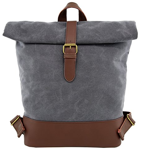 Top Laptop Leather Load (Backpack Angelina's Palace Laptop Backpack Rolling Canvas Leather Backpack Waterproof Bookbag Casual(Taupe))