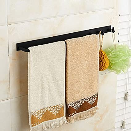 GuoEY Estantería de baño Toallas de baño Cocina baño Toalla Colgando Negro Perforado Simple Rack Multifuncional