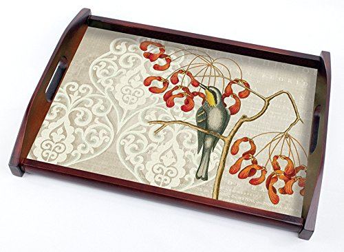 Cala Home 16-3/4 Inch Wooden Butler-Style Tray, Williamsburg Catesby Bird Collage Yellow Throat