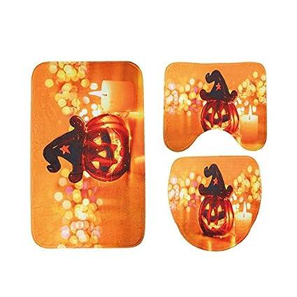 Stupendous Jhfuh Halloween Pumpkin Toilet Seat Cover And Rug Bathroom Lamtechconsult Wood Chair Design Ideas Lamtechconsultcom