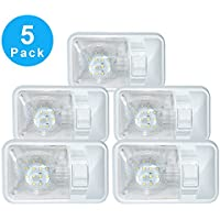 5 Pack 12V Led RV Ceiling Dome Light RV Interior Lighting for Trailer Camper with Switch, Single Dome 280LM