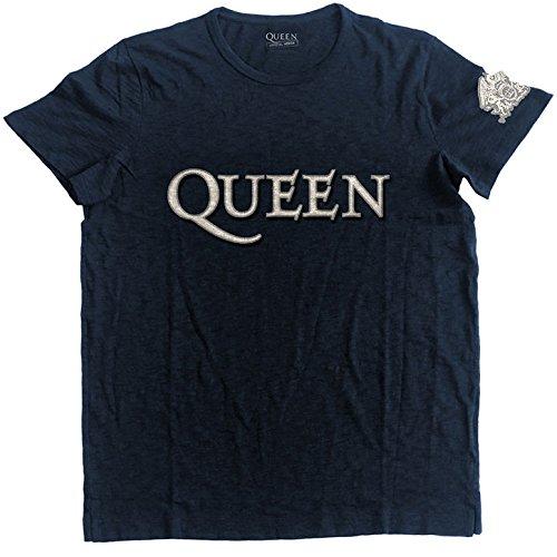 Offiziell lizenzierte Männer Königin Logo und Wappen Applique Motiv T-Shirt