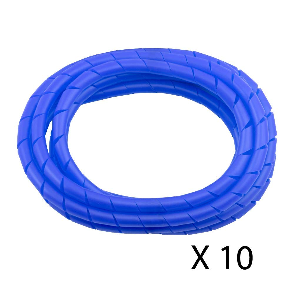 10 Pack MD Premium 8' Cord Cover Prevents Cord Tangling - Blue
