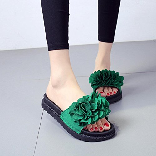Sandalen DamenBinggong Frauen Fashion Solid Color Flower Thick Bottom flache Schuhe Sandalen Slipper Dicke Sandalen...