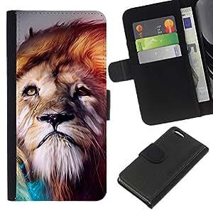 """Be-Star la tarjeta de Cr¨¦dito Slots PU Funda de cuero Monedero caso cubierta de piel Para Apple iPhone 5C ( Le¨®n viento Majestic Criatura de la naturaleza animal"""" )"""