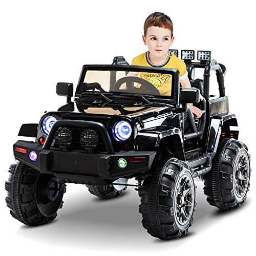 AuAg Electric Ride On Car/Truck Ride on Toys with Parental Remote Control 12V Two Speeds LED Lights MP3 Player Prerecorded Kid Song Easy to Assemble Indoor and Outdoor Gift for Kids (Black)