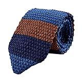 Secdtie Men's Wide Striped Navy Blue Brown KnitTie Border Patterned Necktie 002