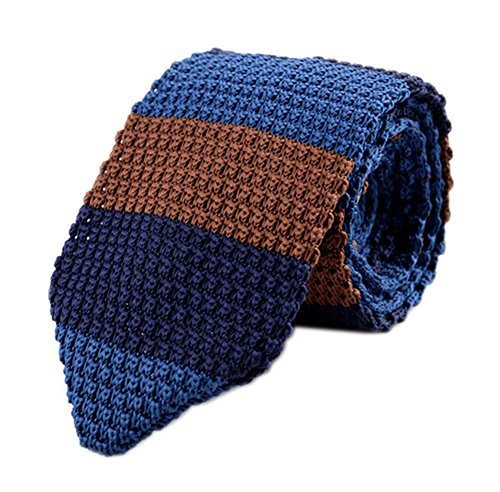 - Secdtie Men's Wide Striped Navy Blue Brown KnitTie Border Patterned Necktie 002