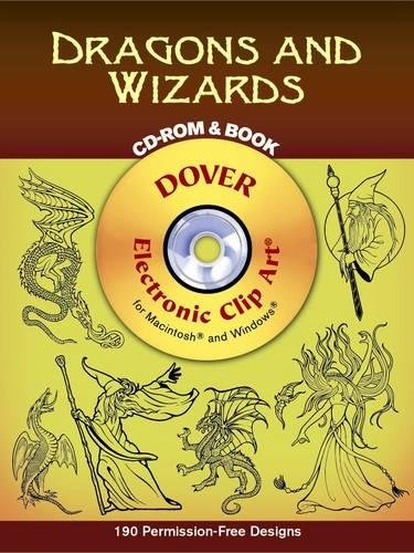 Dragons and Wizards CD-ROM and Book (Dover Electronic Clip Art) ()
