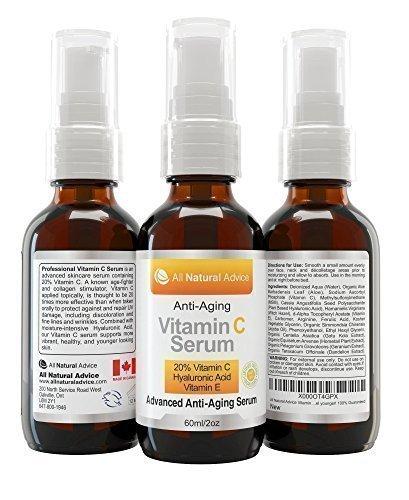 60ml Organic Vitamin C Serum für Ihr Gesicht - 20% Vitamin C in klinischer Stärke + Aminosäurekomplexe +11% Hyaluronsäure serum
