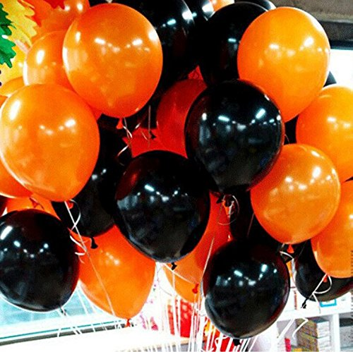 EBTOYS Latex Balloons for Halloween Party Decorations,Orange & Black Colors,12inch,100-Pack