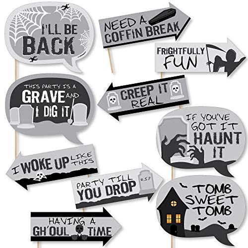 Funny Graveyard Tombstones - Halloween Party Photo Booth Props Kit - 10 Piece -