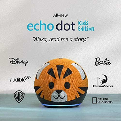 All-new Echo Dot (4th Gen) Kids Edition | Designed for youngsters, with parental controls | Tiger