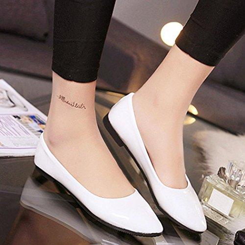 Fheaven Dames Flats Schoenen Eenvoudige Slip Op Casual Snoep Kleur Schoenen Ballet Flats Loafers Wit