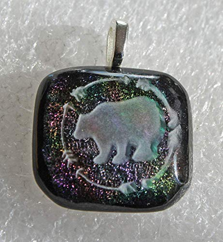 (Jewels of Fire Dichroic Glass Pendant with Bear and Arrows Design)