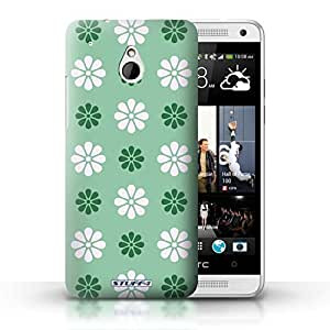 KOBALT? Protective Hard Back Phone Case / Cover for HTC One/1 Mini | Green Design | Petal Pattern Collection