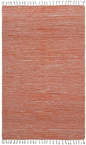 Complex Chenille Flat Weave Rug, 5-Feet by 8-Feet, Orange