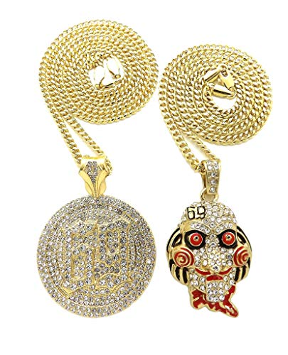 BLINGFACTORY Hip Hop Iced Out Gold Plated Saw Inspired & 69 Pendant & 3mm 20 24 Cuban Chain Necklace Set