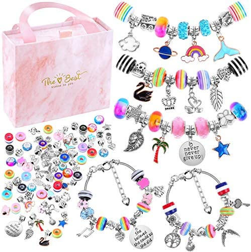 Bracelet Making Kit for Girls, Flasoo 85PCs Charm Bracelets Kit with Beads, Jewelry Charms, Bracelets for DIY Craft, Jewelry Gift for Adults and Teens on Valentine's Day