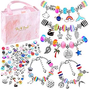Best Epic Trends 51OlPBRQIxL._SS300_ Bracelet Making Kit for Girls, Flasoo 85PCs Charm Bracelets Kit with Beads, Jewelry Charms, Bracelets for DIY Craft…