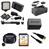Sony HDR-CX220 Camcorder Accessory Kit includes: SDNPFV70NEW Battery, SDM-109 Charger, SD32GB Memory Card, SDC-26 Case, HDMI6FMC AV & HDMI Cable, LED-70 On-Camera Lighting