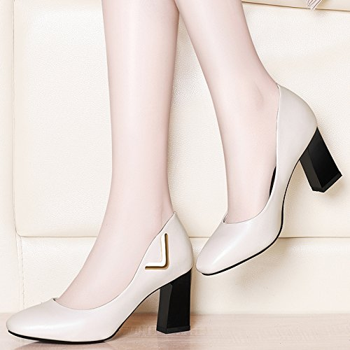 Thick New With beige Head Shoes Jqdyl Fashion Female Shoes heels 2018 Spring High Single A Heel Square Wild High nUYIXqI4
